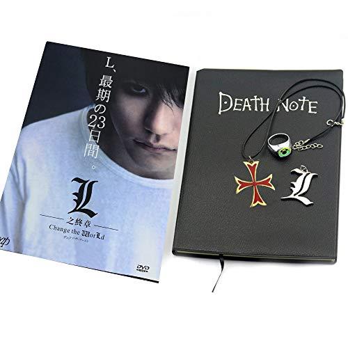 Juego de 4 cuadernos de notas de muerte, con anillo y collar para cosplay