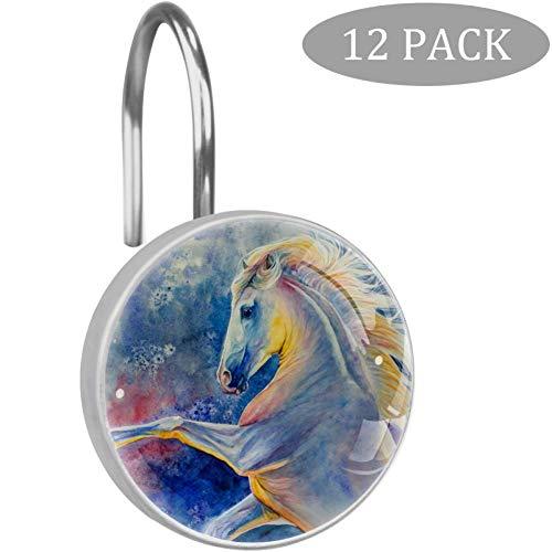 TIZORAX Douche Gordijn Hooks Beauty Gekleurde Paard 12 stks Home Decoratie voor Badkamer Slaapkamer Woonkamer