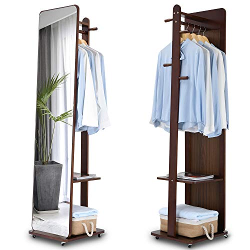 LVSOMT Full Length Mirror with Coat Rack, Free Standing Mirror, Floor Mirror, Clothes Valet Stand, Movable Storage Organizer with Hanging Rod, Hooks, Shelves, Wheels (Walnut)