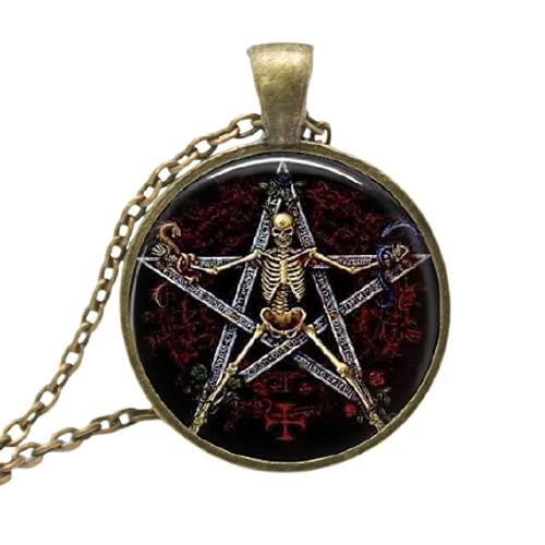 Collares reales de Collier con colgante de cristal de Pentagrama de luz del sol Gargantilla de bronce de arte gótico