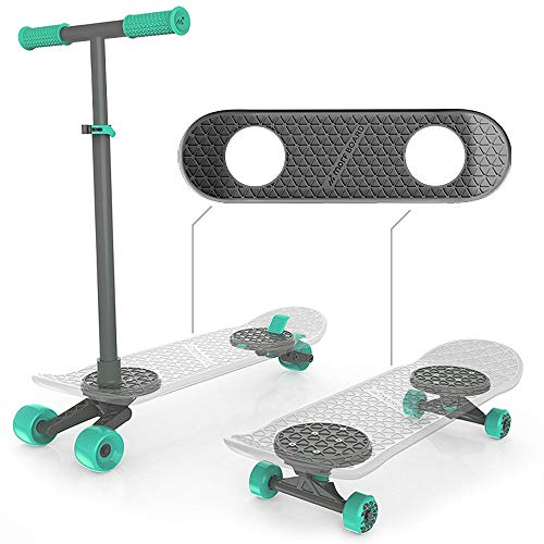 MORFBOARD 39015 Skateboard amp Scooter Combo Set for Boys Girls Kids 2in1 Scoot Grey Deck/Mint Wheels