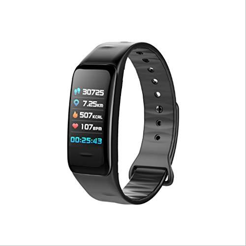 RENJUN Smart-Armband mit Herzfrequenz- und Blutdruckmessgerät-Set, modisch, großer Bildschirm, Sport-Smartwatch mit Bluetooth-Armband (Farbe: schwarz)