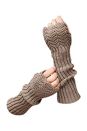 Novawo Women's Scale Design Winter Warm Knitted Long Arm Warmers Gloves Mittens (Khaki)