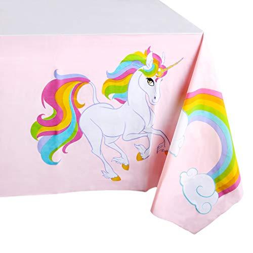Eenhoorn Regenboog Feestbenodigdheden- 3 Pack Wegwerp Plastic Rechthoekige Tafelkleden voor Kinderen Verjaardag, Tafelhoes Decoraties in Roze en Wit, 54 x 108 Inches