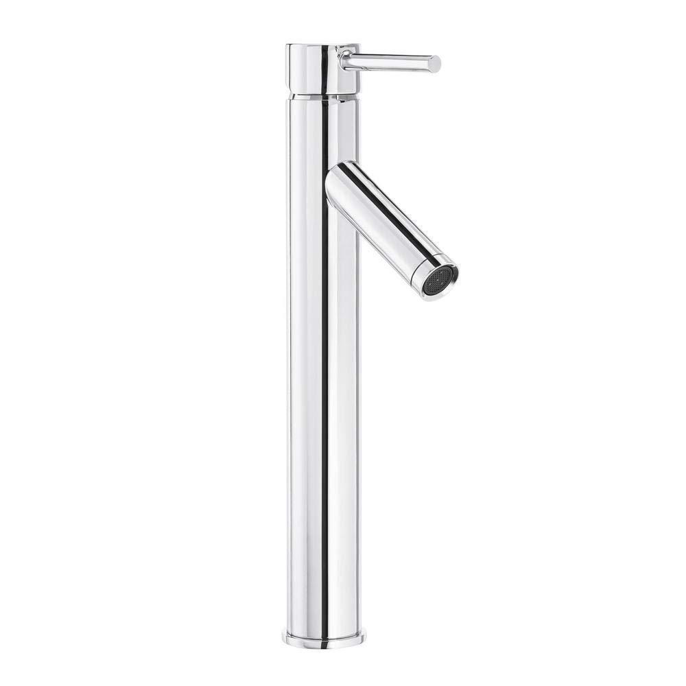 Glacier Bay Modern Single Hole Single Handle Vessel Bathroom Faucet In Chrome With Drain Amazon Com
