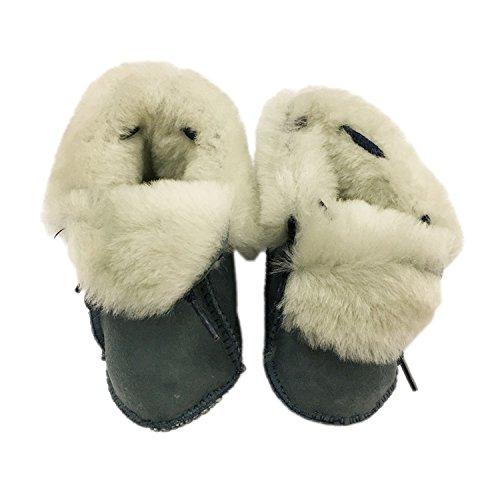 FURFURMOUTON ベビー ムートンルームシューズ 赤ちゃん こども キッズ Baby ベビー靴 室内履き ふわふわ もこもこ かわいい 暖かベビーシューズ SMB812 (ネイビー)