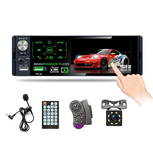 Hikity 1 Din Autoradio Bluetooth 4 pollici Schermo tattile Stereo FM AM RDS Ricevitore con USB, AUX-in, Porta d'ingresso per scheda SD + Telecamera di retromarcia & Microfono