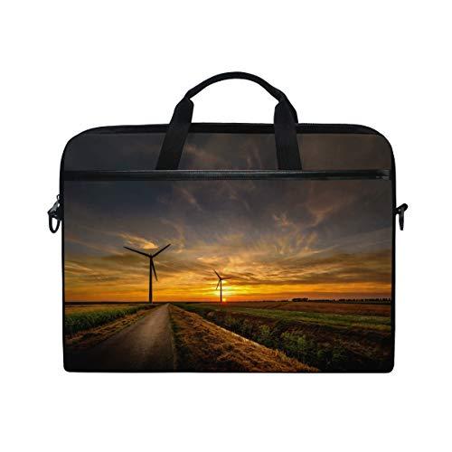 Stilvolle Aktentasche Laptoptasche 15 Zoll mit Schultergurt für Männer und Frauen Sky Roads Windkraftanlage