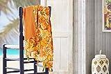 Burrito Blanco Pareo para Playa 198 | Toalla Pareo con Diseño Estampado de Flores Algodón 100% con Reverso de Rizo con Microfibra de 90x165 cm, Color Naranja