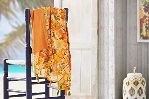 BURRITO Pareo voor strand 198 | badhanddoek met bloemenpatroon, 100% katoen, achterkant van badstof met microvezel, 90 x 165 cm, oranje