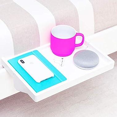 BedShelfie The Original Bedside Shelf - 9 Colors / 2 Sizes - AS SEEN ON Business Insider (Regular Size, Bamboo in White)