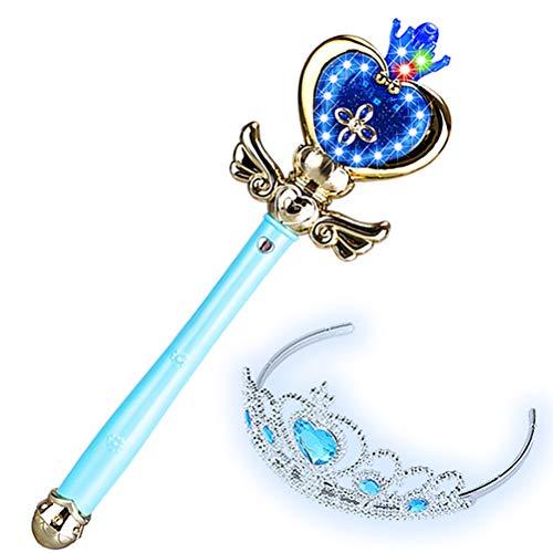 GAOJIAN Palo de Hadas congelado Varita mgica de msica Flash para nios Princesa Halloween disfrazar Show Girl Toy Magic Wand Blue