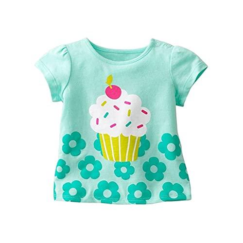 LOKKSI Niños Chica Camiseta Verano Bebé Algodón Tops Niño Camisetas Ropa Niños Dibujos Animados Camisetas Manga Corta Casual Wear