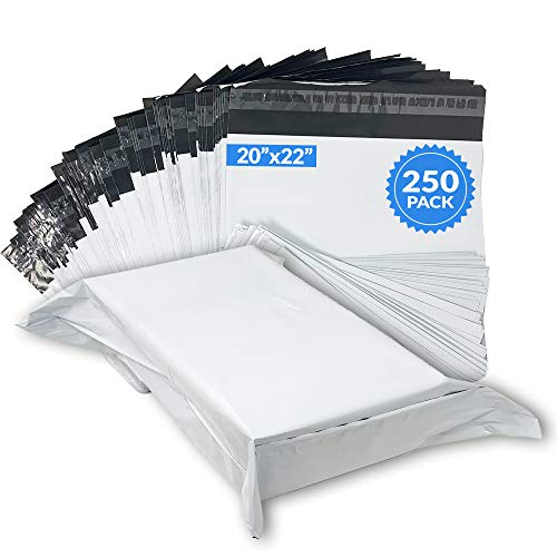 Reli. Poly Mailers 20x22 Large | 250 Pcs Bulk | Shipping Bags / Shipping Envelopes | Self-Sealing | White Large Packaging Bags for Shipping | Non-Padded Polymailers