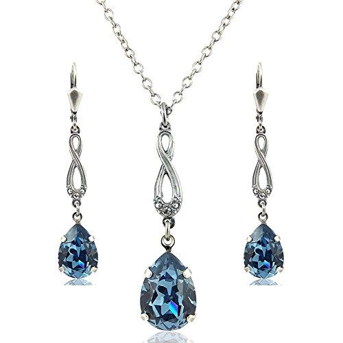 nobel-schmuck Schmuckset Blau Silber mit Kristallen von Swarovski