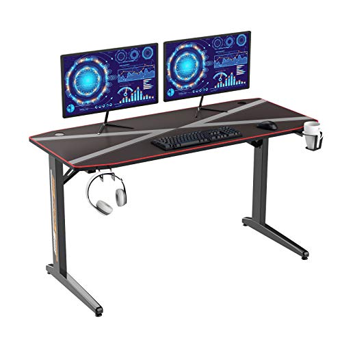 SDHYL T-Frame 55inches Gaming Table PC Desk Computer Workstation with 3mm Full Cover Mouse Pad, Cable Organizing Rack, Headphone Holder and Cup Holder S7-YT-TF-1-US