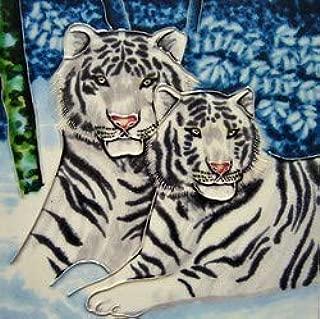 JGS White Tiger & Cub - Animal Collection - Decorative Ceramic Wall Art Coaster 4inch x 4inch