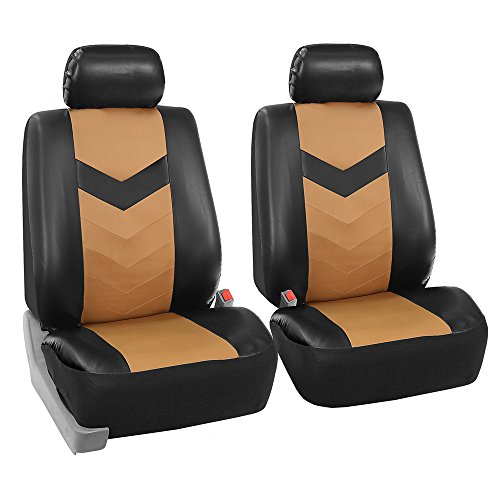 FH Group PU021102 Faux Leather Seat Cover (Tan) Front Set with Gift - Universal Fit for Cars Trucks and SUVs