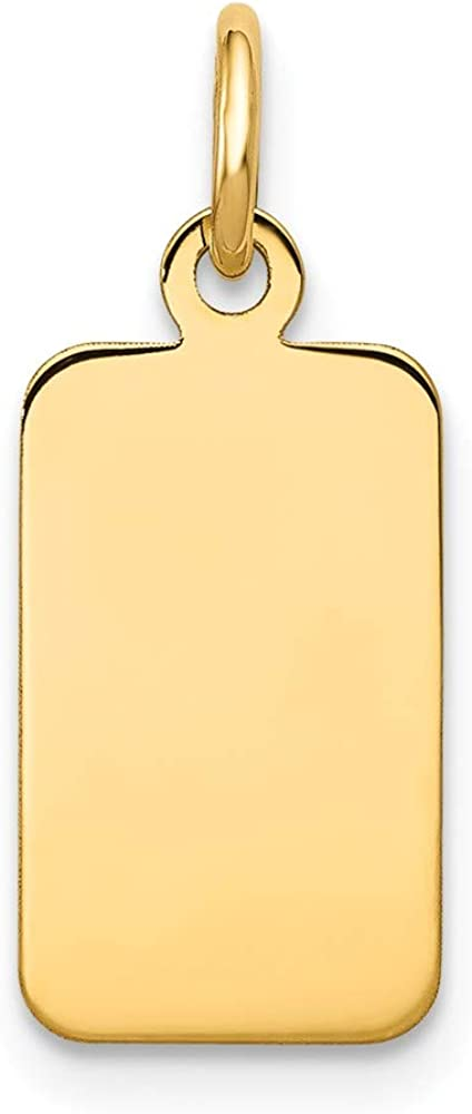 14k Yellow Gold .011 Gauge Engravable Rectangular Disc Pendant Charm Necklace Fine Jewelry For Women Gifts For Her