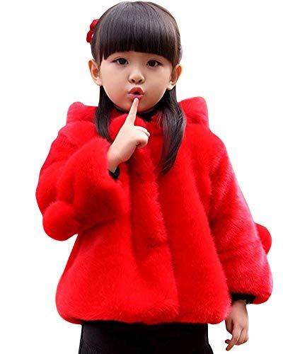 Quge Bambini Ragazza Cappotto di Pelliccia Sintetica del Cappotti Inverno Giacca Caldo Giacche con Cappuccio Rosso 160