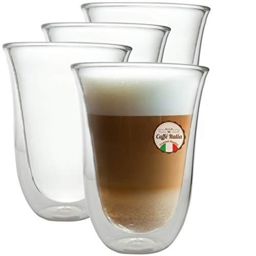 Moritz & Moritz Caffé Italia Napoli 4 x 300 ml Doppelwand-Thermo-Gläser - für Latte Macchiato Tee Heiß- und Kaltgetränke - spülmaschinengeeignet
