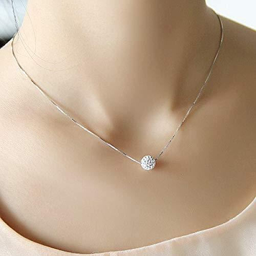 Collar de plata pura 925 collar femenino corto diseño bola de cristal elegante breve antialérgico