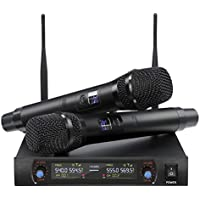 Nasum UHF Dual Channel Wireless Karaoke Microphone System with 2x Mics