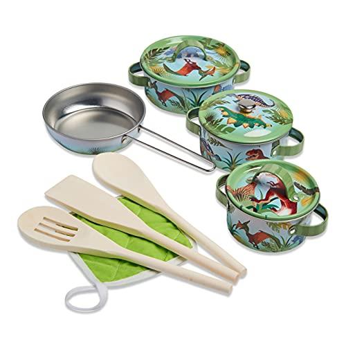 Wobbly Jelly - Juego de Cocina para niños «Fieros Dinosaurios» - Juego de Cocina para niños de 11 Piezas con ollas y sartenes - Utensilios de Cocina de Juguete