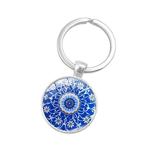 UmerBee Llavero con diseño de mandala, diseño de flores, llavero con gemas de tiempo, llavero de regalo