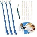 Spazzolino per cani, spazzolino da denti per cani, spazzolino a doppia testa morbida, per la cura dei denti, per cani, rimuove residui e tartaro.