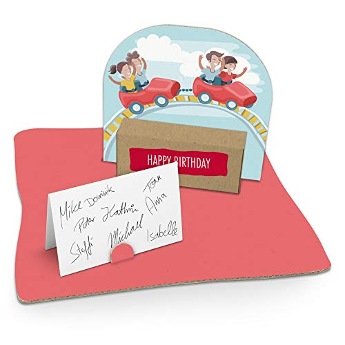 itenga Geldgeschenk I Motiv Achterbahn/Freizeitpark I Mitbringsel I Gutschein I Geschenkverpackung mit Bodenplatte, Geschenkkarte und Stickerbogen - zum Basteln und Dekorieren