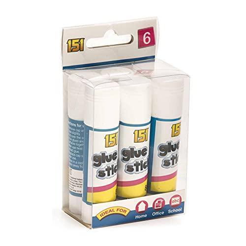 Paquete de 6 barras de pegamento, adhesivo de agarre fuerte, apto para niños, ideal para actividades de artes y manualidades, escuela y trabajo de oficina