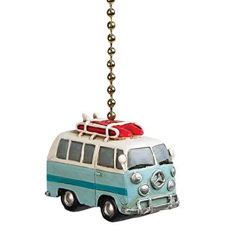 Clementine Designs Beach Bus Van Ceiling Fan Light Dimensional Pull Resin Blue