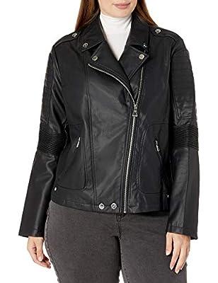 Urban Republic Women's Juniors Faux Leather Moto Jacket, Black, 1X