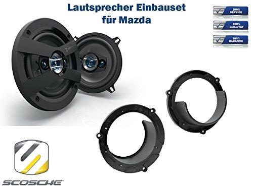 Mazda 323 Lautsprecher Einbauset (Türe Front) inkl. Scosche HD5254 130mm 3 Wege Triaxial Lautsprecher 200Watt
