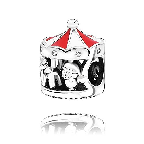 Pandora 925 colgante de plata esterlina Diy nuevo carrusel Charm Bead Fit Charms pulsera mujer adornos navideños regalo