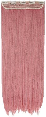 Clip in Extensions wie Echthaar Rosa Haarverlängerung Haarteil hitzebeständig Glatt 1 Tresse 5 Clips 26