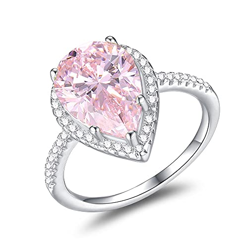 Mozume Women's 925 Sterling Silver Pear-Cut 5ct Pink Cubic Zirconia Ring Cocktail Engagement Wedding (5.5)