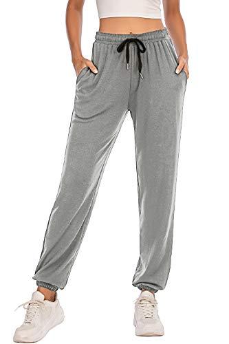 Pantalones Deportivos para Mujer para Yoga Running Fitness Jogging Danza Pijama de Interior Largos Chándal Casuale Gris S