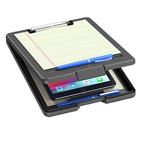 """Clipboard with Storage, Plastic Storage Nursing Clipboard with Low Profile Clip, Heavy Duty Foldable Letter Size Recycled, for Kid, Salary, Coach, Jobsite, Industrial, Office(9""""x13""""x 0.8"""", Black)"""