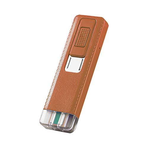 Huhu833 Lichtbogen Feuerzeug, USB Elektro Feuerzeug, Ultradünn Winddicht Flammenloses USB Aufladbare Elektronische Feuerzeuge, Aufladbar Plasma Geschenk Feuerzeug (Braun)