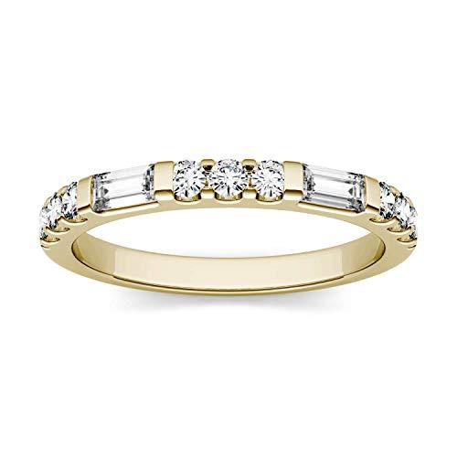 Charles & Colvard Forever One anillo de boda - Oro amarillo 14K - Moissanita de 4.0 mm de talla baguette, 0.502 ct. DEW, talla 17