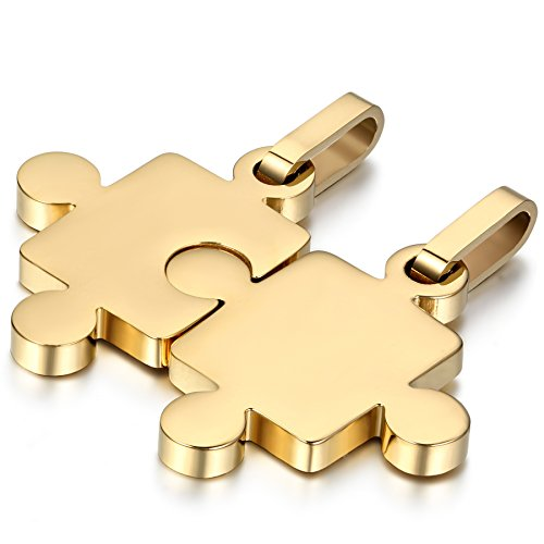 OIDEA 1 Paar(2PCS) Freundschaftsketten mit Anhänger, Puzzle Love Lieben Edelstahl Partner-Anhänger mit 45cm und 55cm Kette, Halskette Halsband für Damen Herren, Silber (Gold)