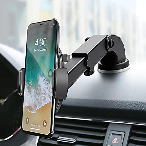 Soporte para teléfono de coche, panel de instrumentos, soporte para parabrisas, súper estable y potente succión compatible con iPhone Samsung todos los smartphones