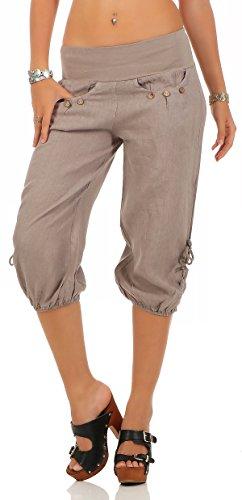Malito Damen Capri Hose aus Leinen | Stoffhose in Unifarben | Freizeithose für den Strand | Chino - Kurze Hose 6302 (Fango, L)