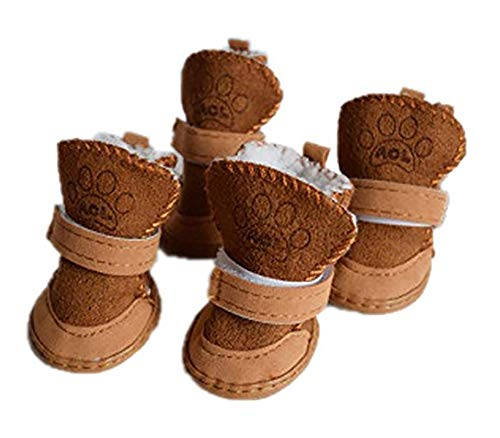 GabeFish Puppy Cute Cozy Warm Anti Slip Winter Boots for Small Medium Dogs Pets Cats Thicken Fleece Snow Shoes Brown Size 5