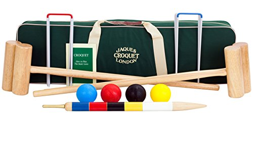 Jaques of London Reigate Croquet set - Regulation Full Size Croquet Set for Adults - 2018 UPDATE with Free Accessories Canvas Case
