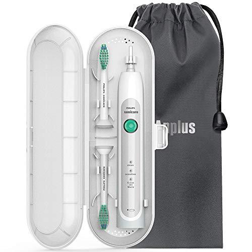 Anplus Sonicare Reiseetui für Philips [ Aufgerüstet Version ], Reise Schutz hülle Etui mit Weiche Samtbeutel für Sonicare Reiseetui Elektrische Zahnbürsten 1 Handstück und 2 Aufsteckbürsten (Weiß)