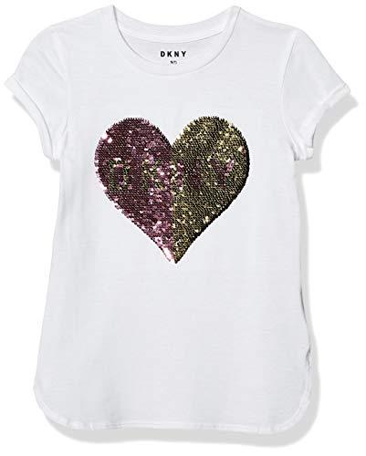 DKNY Girls' T-Shirt, Shirtail flip Sequin Heart Bright White, 12