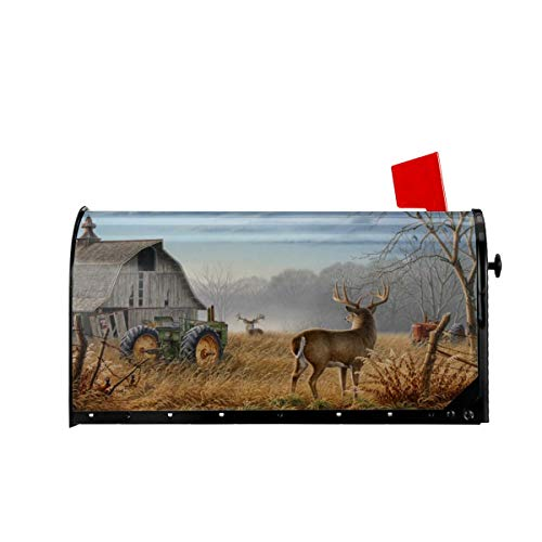 Foruidea Deer Tractors Personalized Mailbox Covers Magnetic Mailbox Wraps Patriotic Post Letter Box Cover Standard Oversize 21 X 18 Makover MailWrap Garden Home Decor